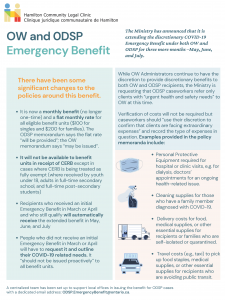 OW and ODSP emergency benefit